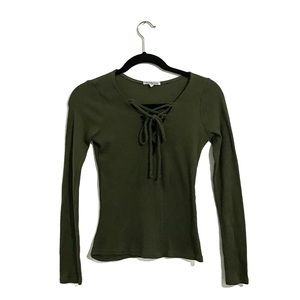 Charlotte Russe Green Ribbed V-Neck Tie Up Sweater